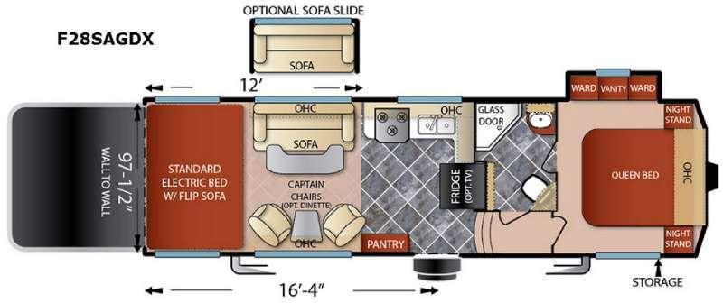Floorplan - 2016 Forest River RV Shockwave F28SAGDX