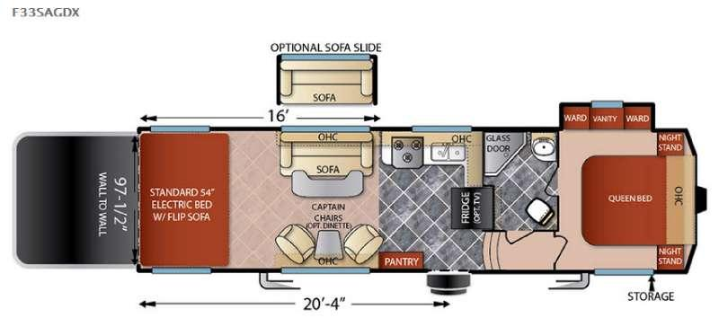 Floorplan - 2016 Forest River RV Shockwave F33SAGDX