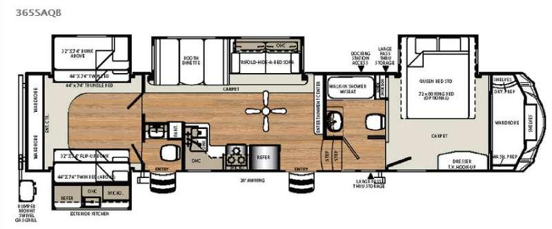Floorplan - 2016 Forest River RV Sierra 365SAQB