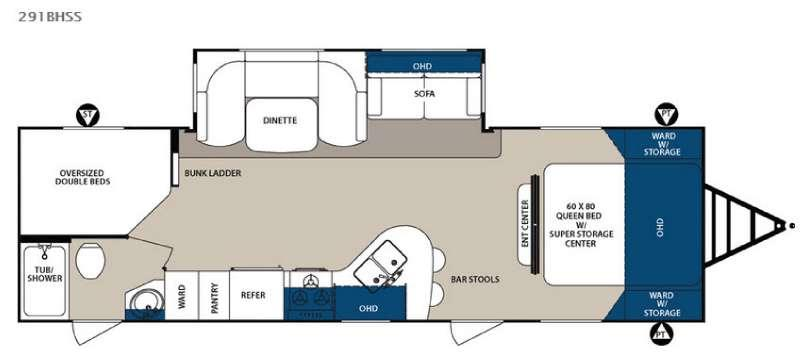 Floorplan - 2016 Forest River RV Surveyor 291BHSS