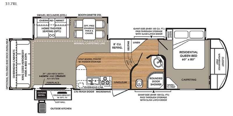 Floorplan - 2016 Forest River RV Wildcat 317RL