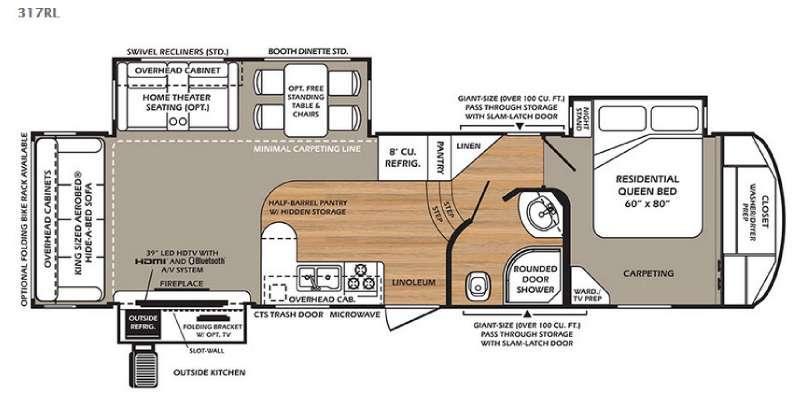 Floorplan - 2016 Forest River RV Wildcat 317RL