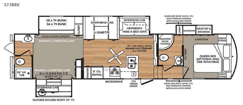 Floorplan - 2016 Forest River RV Wildcat 323RBX