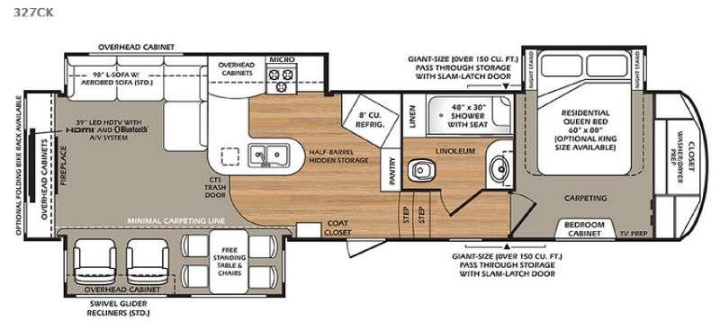 Floorplan - 2016 Forest River RV Wildcat 327CK
