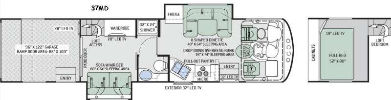 Floorplan - 2016 Thor Motor Coach Outlaw 37MD