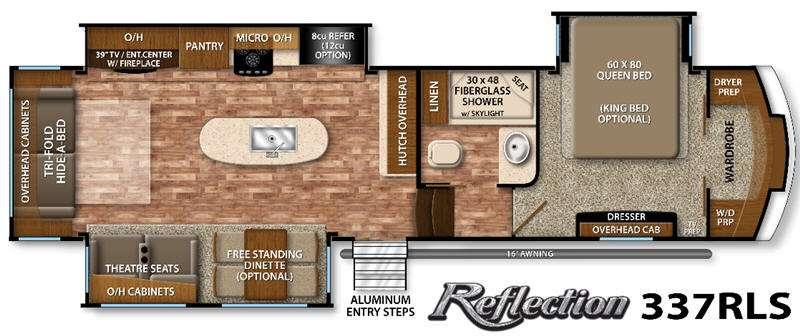 Floorplan - 2016 Reflection 337RLS Fifth Wheel