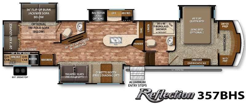 Floorplan - 2016 Grand Design Reflection 357BHS