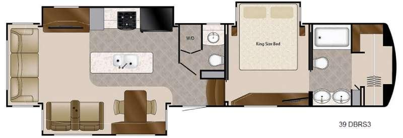 Floorplan - 2016 DRV Luxury Suites Mobile Suites 39 DBRS3