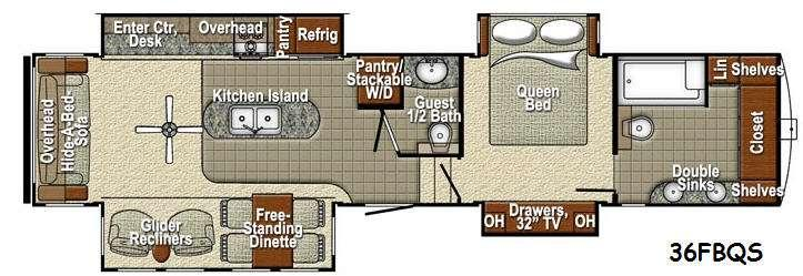 Floorplan - 2016 Yellowstone RV Sedona 36FBQS Advanced Profile
