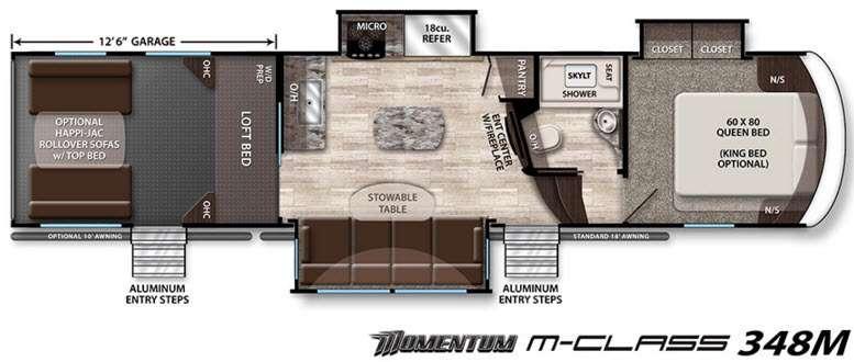 Floorplan - 2016 Grand Design Momentum M-Class 348M