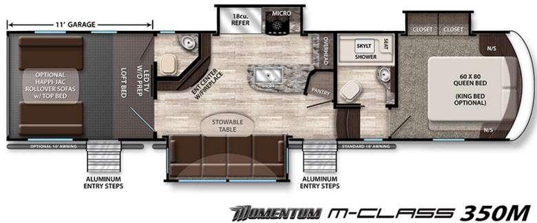 Floorplan - 2016 Grand Design Momentum M-Class 350M