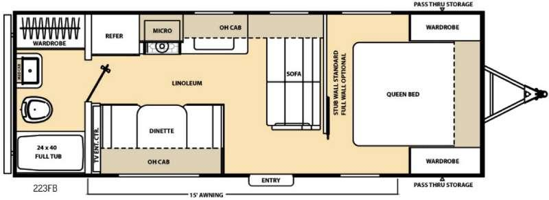 Floorplan - 2016 Coachmen RV Catalina 223FB