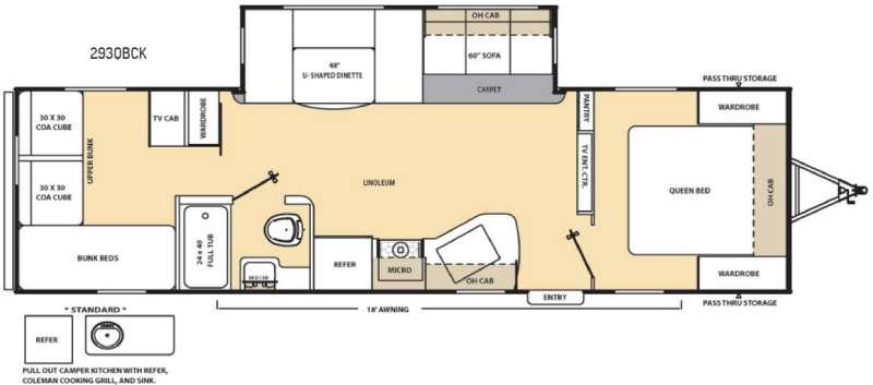 Floorplan - 2016 Coachmen RV Catalina 293QBCK
