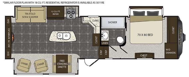 Floorplan - 2016 Keystone RV Alpine 3011RE