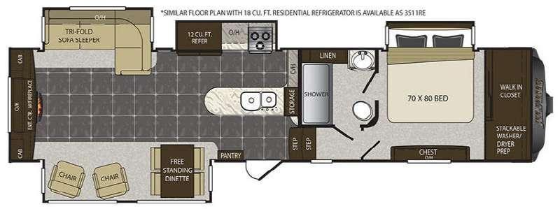 Floorplan - 2016 Keystone RV Alpine 3511RE