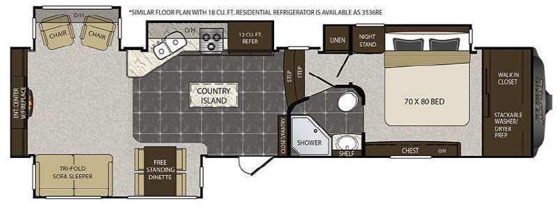 Alpine 3536RE Floorplan Image