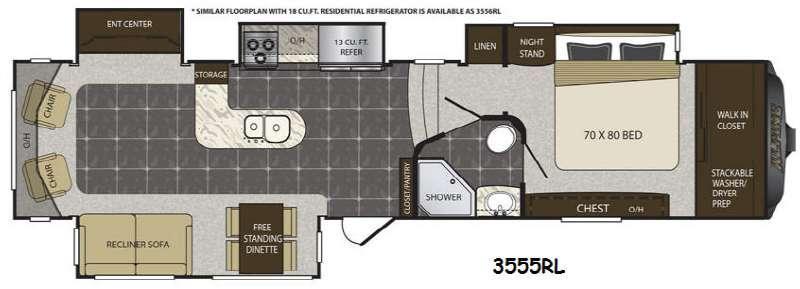 Alpine 3555RL Floorplan Image