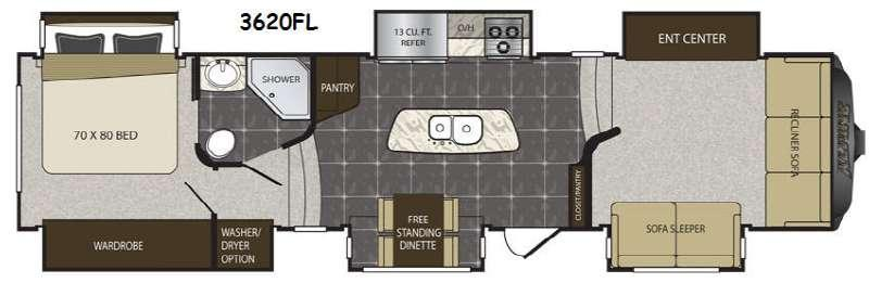 Floorplan - 2016 Keystone RV Alpine 3620FL