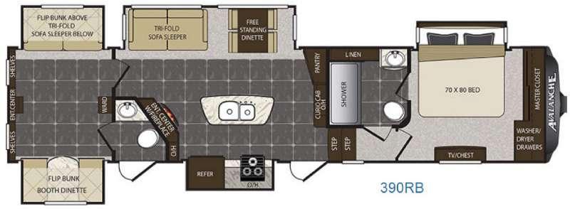 Avalanche 390RB Floorplan Image