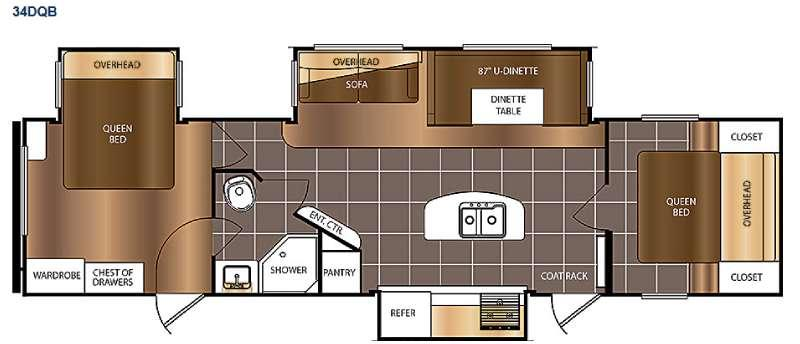 Floorplan - 2016 Prime Time RV Avenger 34DQB