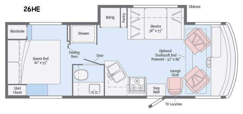 Floorplan - 2016 Itasca Sunstar 26HE