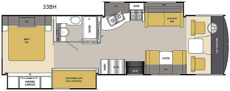 Floorplan - 2016 Coachmen RV Pursuit 33 BH