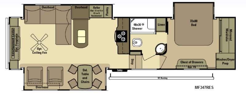 Floorplan - 2015 Open Range RV Mesa Ridge MF347RES