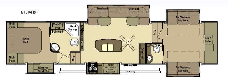 Floorplan - 2015 Open Range RV Mesa Ridge MF376FBH