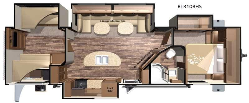 Floorplan - 2016 Highland Ridge RV Open Range Roamer RT310BHS