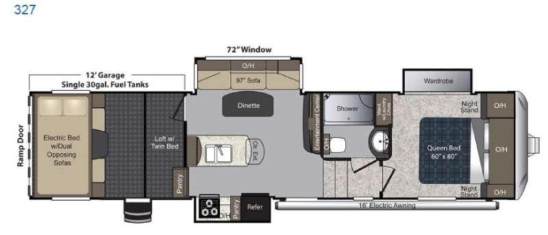 Floorplan - 2016 Carbon 327 Toy Hauler Fifth Wheel