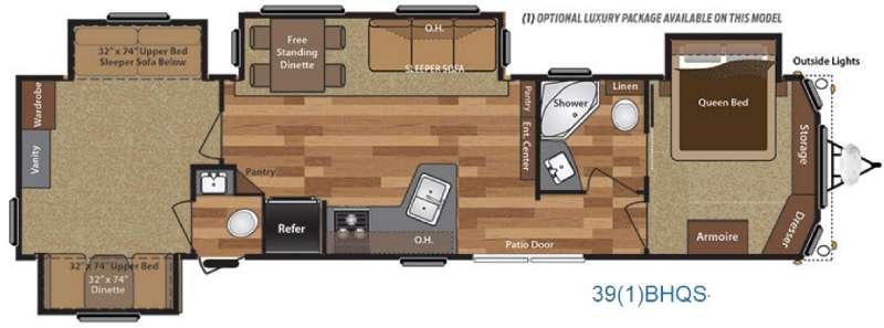 Floorplan - 2016 Keystone RV Retreat 39BHQS