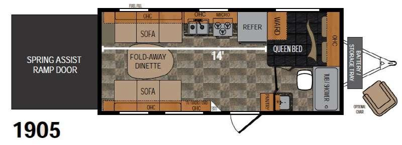 Floorplan - 2016 Rubicon 1905 Toy Hauler Travel Trailer