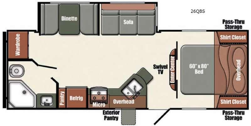 Floorplan - 2016 Gulf Stream RV Gulf Breeze Champagne Series 26QBS