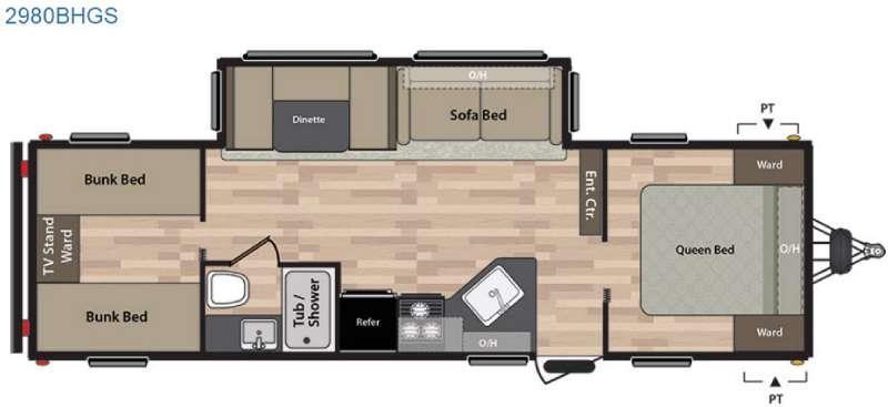 Floorplan - 2016 Keystone RV Summerland 2980BHGS