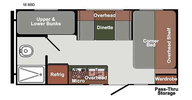Floorplan - 2016 Gulf Stream RV Streamlite Ultra Lite 18 RBD