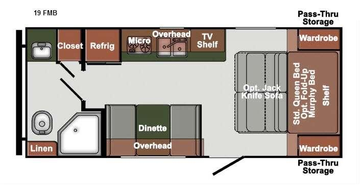Floorplan - 2016 Gulf Stream RV Streamlite Ultra Lite 19 FMB