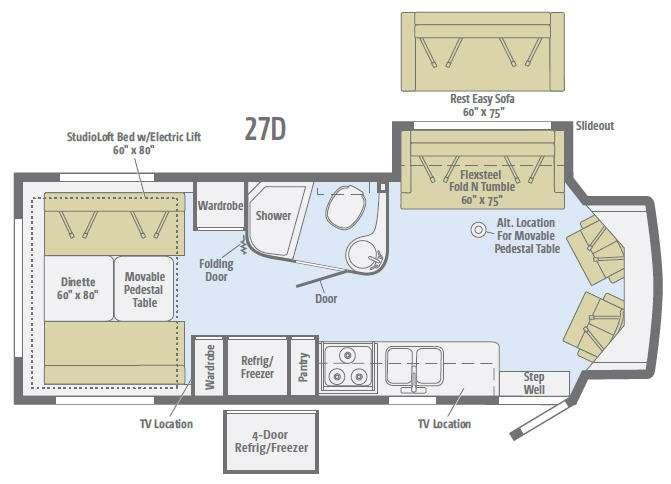 Floorplan - 2016 Winnebago Aspect 27D