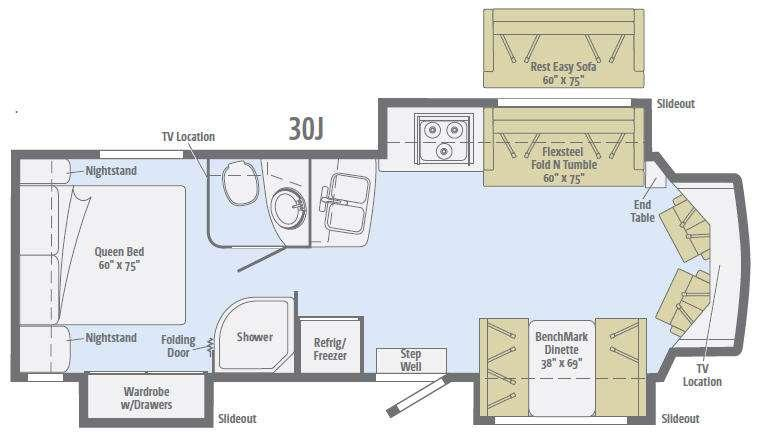 Floorplan - 2016 Aspect 30J Motor Home Class C