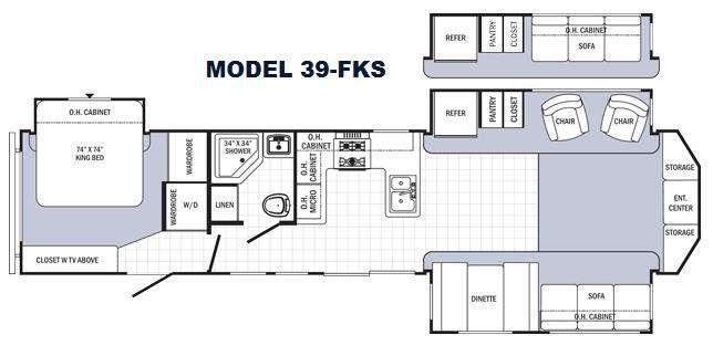 Floorplan - 2015 Palomino Puma Destination 39-FKS