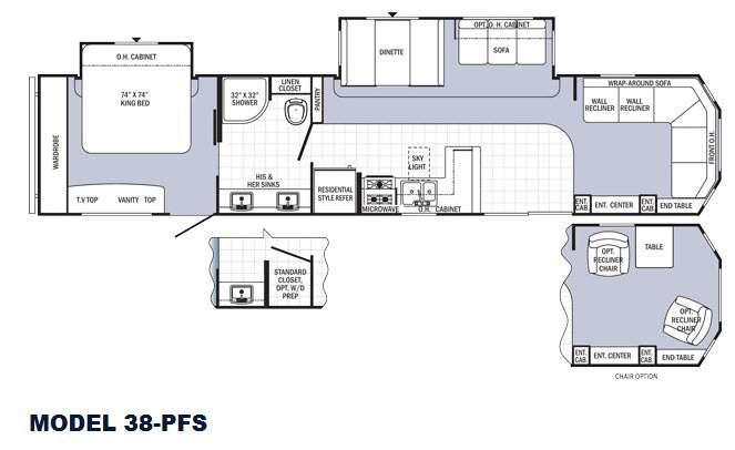 Floorplan - 2016 Palomino Puma Destination 38-PFS