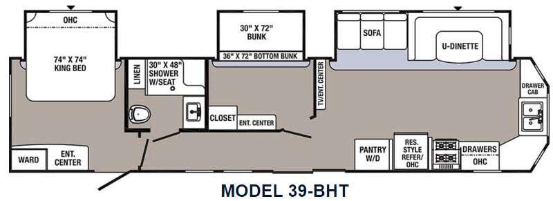 Floorplan - 2016 Palomino Puma Destination 39-BHT