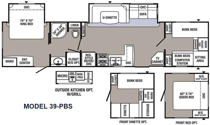 Floorplan - 2016 Palomino Puma Destination 39-PBS