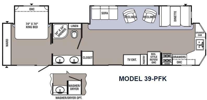 Floorplan - 2016 Palomino Puma Destination 39-PFK