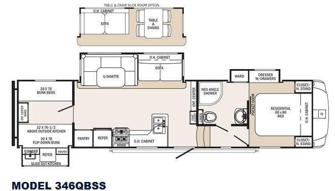 Sabre Silhouette 346QBSS Floorplan Image