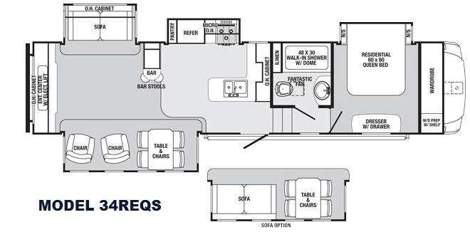 Sabre 34REQS Floorplan Image