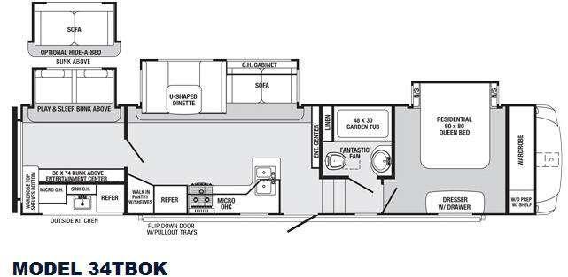 Sabre 34TBOK Floorplan Image