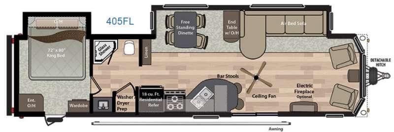 Floorplan - 2016 Keystone RV Residence 405FL