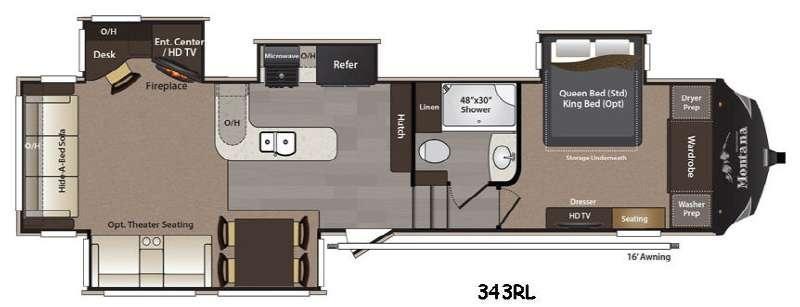 Floorplan - 2016 Keystone RV Montana High Country 343RL