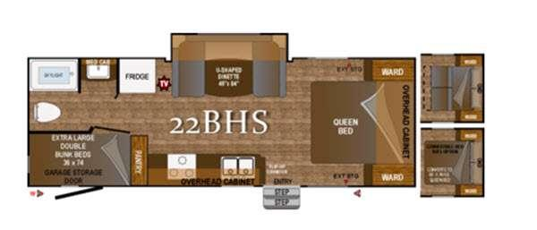 Floorplan - 2016 Outdoors RV Black Rock 22BHS