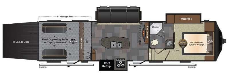 Floorplan - 2016 Keystone RV Fuzion 331 Chrome